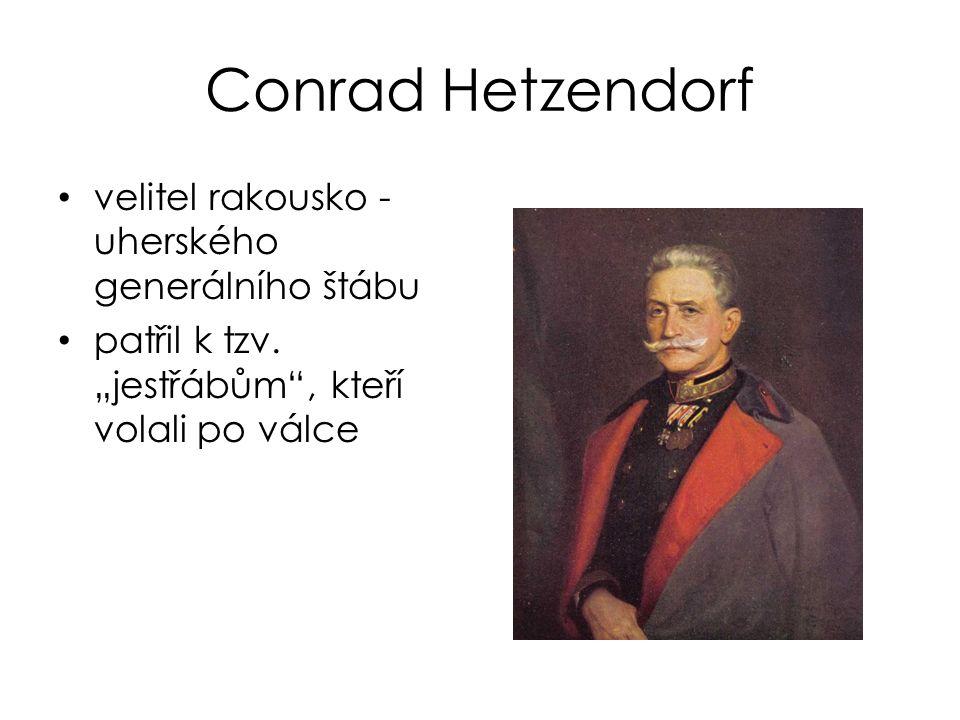 """Conrad Hetzendorf velitel rakousko - uherského generálního štábu patřil k tzv. """"jestřábům"""", kteří volali po válce"""