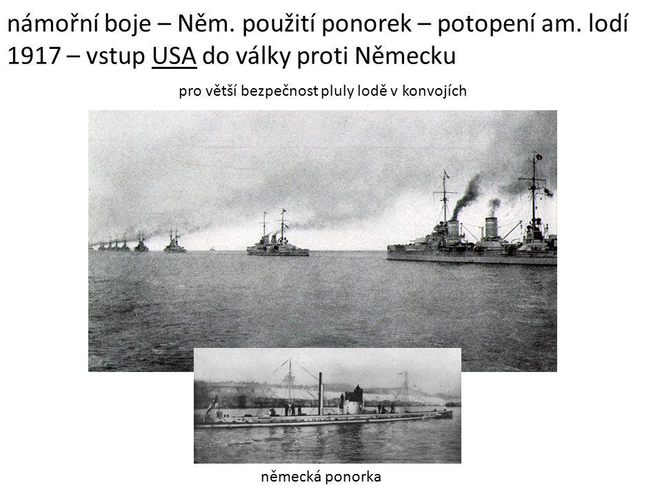 námořní boje – Něm. použití ponorek – potopení am.