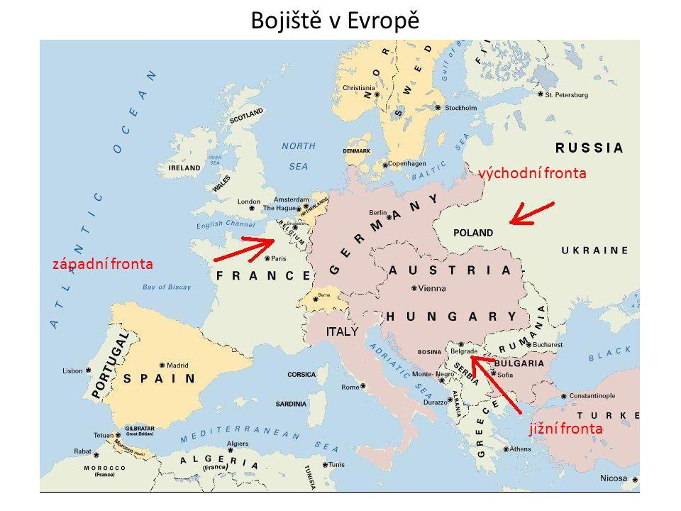 západní fronta jižní fronta východní fronta Bojiště v Evropě