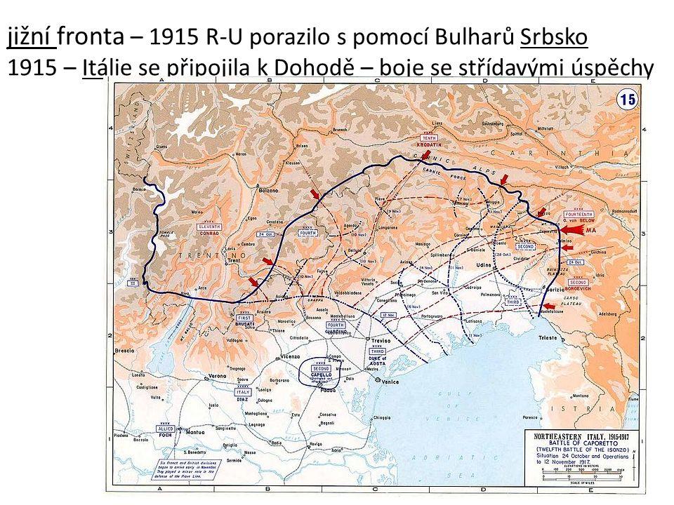 jižní fronta – 1915 R-U porazilo s pomocí Bulharů Srbsko 1915 – Itálie se připojila k Dohodě – boje se střídavými úspěchy