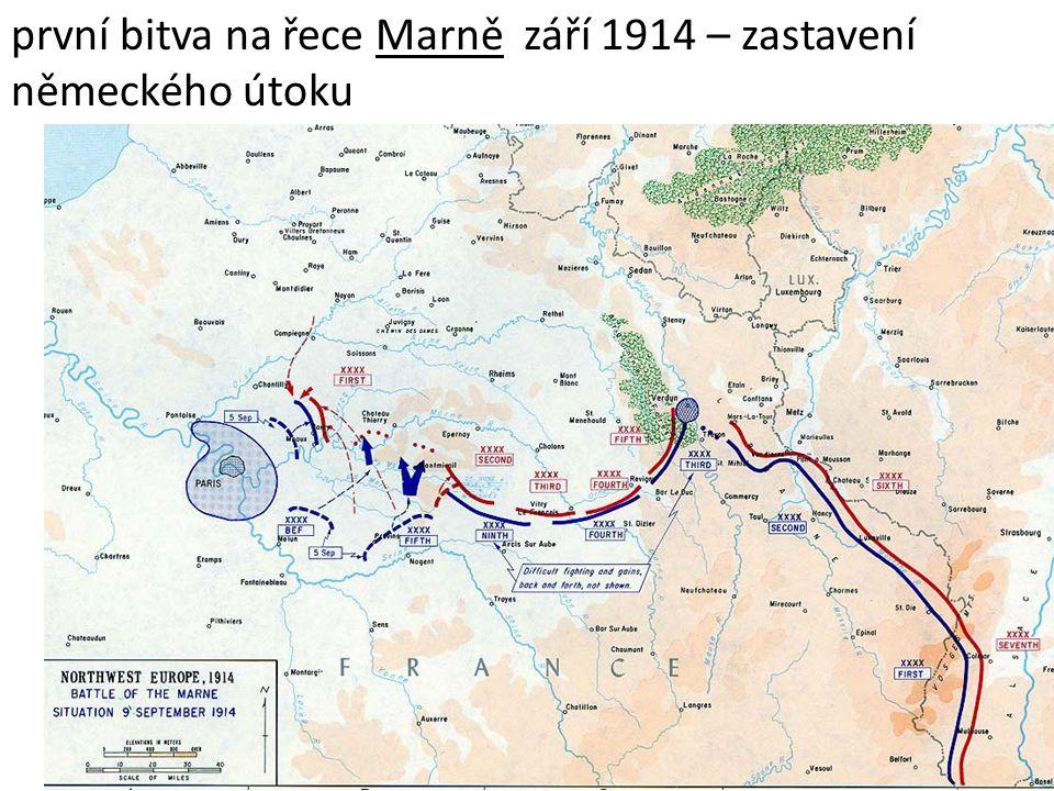 první bitva na řece Marně září 1914 – zastavení německého útoku