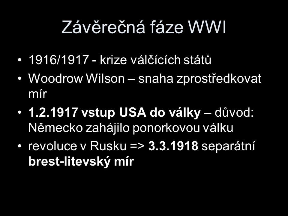 1916/1917 - krize válčících států Woodrow Wilson – snaha zprostředkovat mír 1.2.1917 vstup USA do války – důvod: Německo zahájilo ponorkovou válku revoluce v Rusku => 3.3.1918 separátní brest-litevský mír