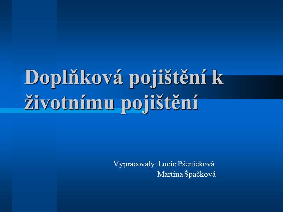 Doplňková pojištění k životnímu pojištění Vypracovaly: Lucie Pšeničková Martina Špačková