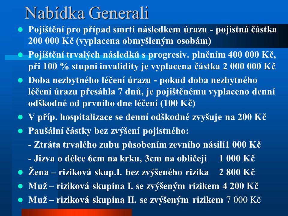 Nabídka Generali Pojištění pro případ smrti následkem úrazu - pojistná částka 200 000 Kč (vyplacena obmyšleným osobám) Pojištění trvalých následků s progresiv.