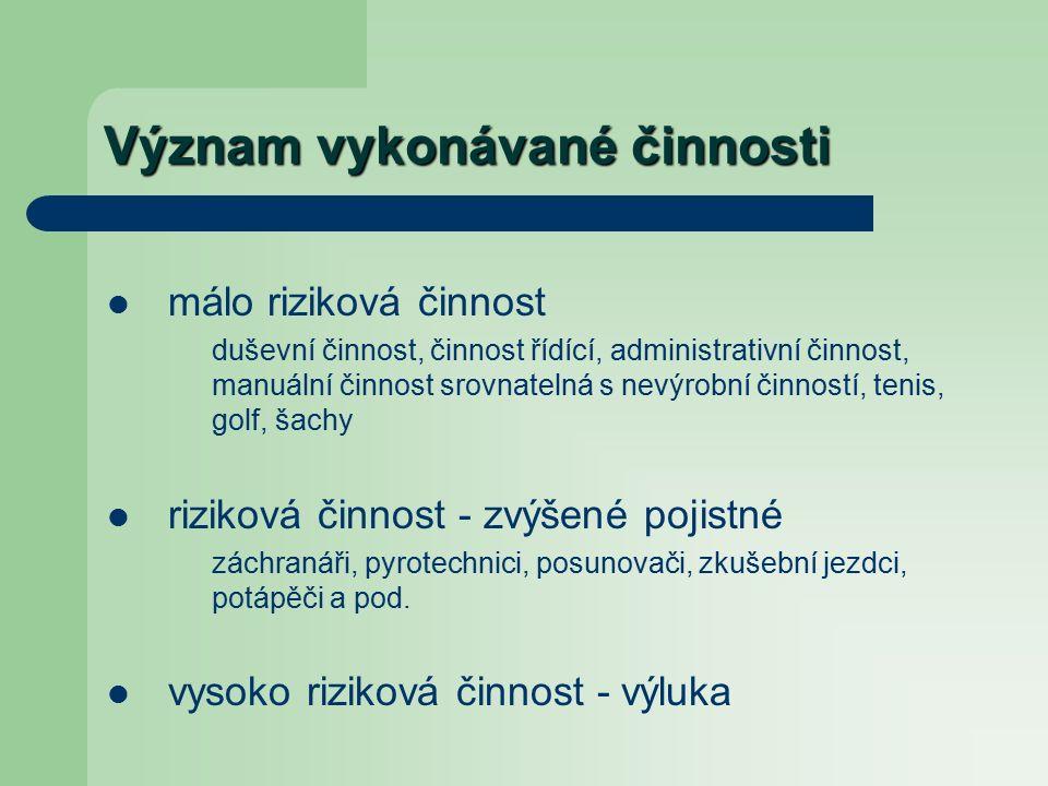 Česká pojišťovna Pojištění závažných onemocnění (neboli VVO) pojištění pro případ VVO pojistná částkavěk měsíšní pojistné pojištění VVO100 000 Kčdo 7060-70 Kč Celkem pojištění pro případ VVO: 60-70 Kč