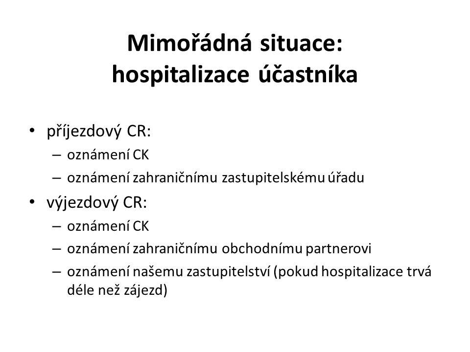 Mimořádná situace: hospitalizace účastníka příjezdový CR: – oznámení CK – oznámení zahraničnímu zastupitelskému úřadu výjezdový CR: – oznámení CK – oznámení zahraničnímu obchodnímu partnerovi – oznámení našemu zastupitelství (pokud hospitalizace trvá déle než zájezd)