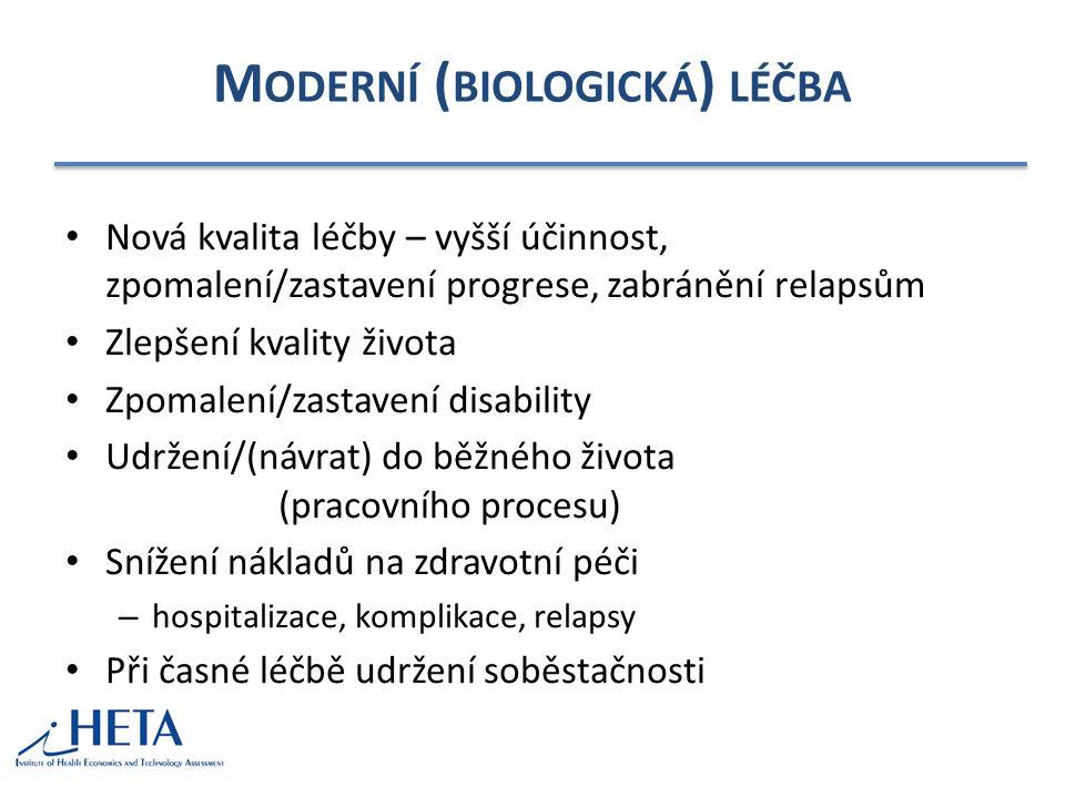 M ODERNÍ ( BIOLOGICKÁ ) LÉČBA Nová kvalita léčby – vyšší účinnost, zpomalení/zastavení progrese, zabránění relapsům Zlepšení kvality života Zpomalení/