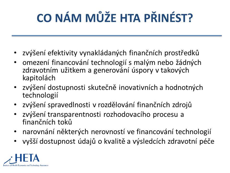 CO NÁM MŮŽE HTA PŘINÉST? zvýšení efektivity vynakládaných finančních prostředků omezení financování technologií s malým nebo žádných zdravotním užitke