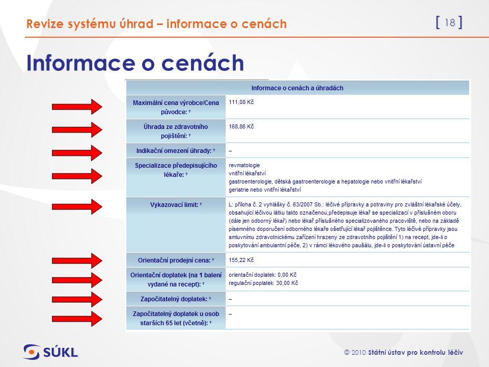 [ 18 ] © 2010 Státní ústav pro kontrolu léčiv Informace o cenách Revize systému úhrad – informace o cenách