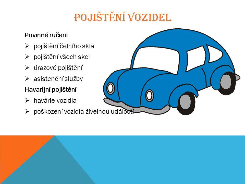 POJIŠT Ě NÍ VOZIDEL Povinné ručení  pojištění čelního skla  pojištění všech skel  úrazové pojištění  asistenční služby Havarijní pojištění  havárie vozidla  poškození vozidla živelnou událostí