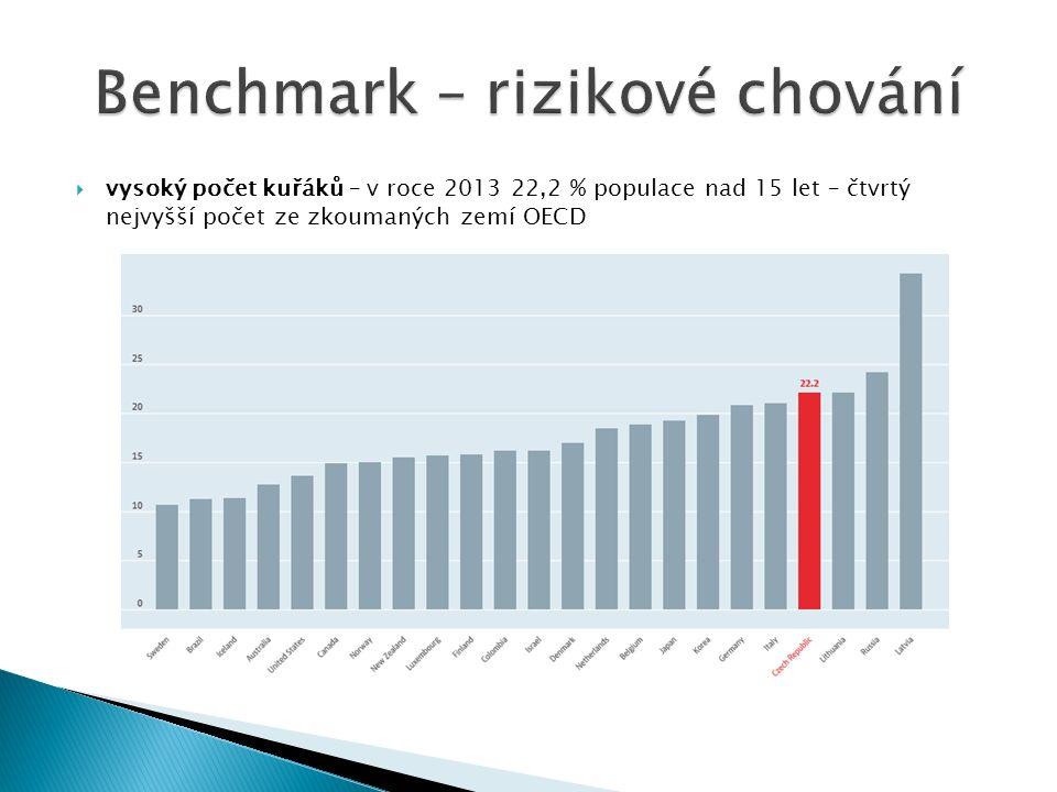  vysoký počet kuřáků – v roce 2013 22,2 % populace nad 15 let – čtvrtý nejvyšší počet ze zkoumaných zemí OECD