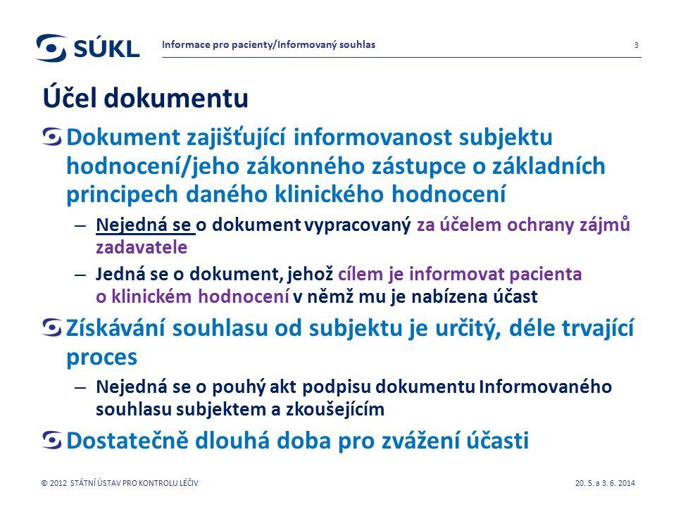 Účel dokumentu Dokument zajišťující informovanost subjektu hodnocení/jeho zákonného zástupce o základních principech daného klinického hodnocení – Nejedná se o dokument vypracovaný za účelem ochrany zájmů zadavatele – Jedná se o dokument, jehož cílem je informovat pacienta o klinickém hodnocení v němž mu je nabízena účast Získávání souhlasu od subjektu je určitý, déle trvající proces – Nejedná se o pouhý akt podpisu dokumentu Informovaného souhlasu subjektem a zkoušejícím Dostatečně dlouhá doba pro zvážení účasti 20.
