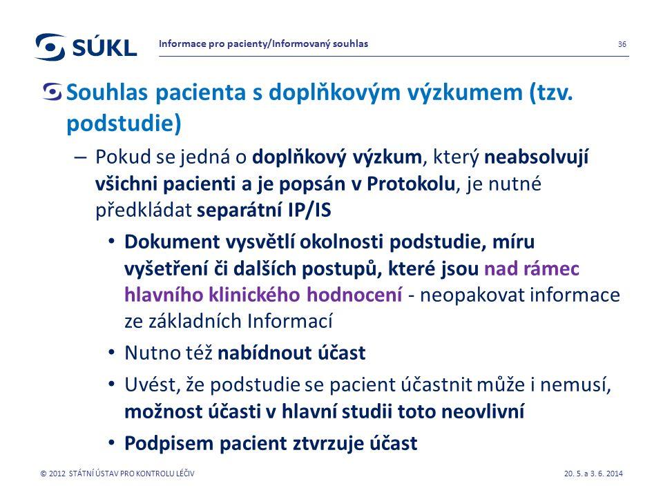 Souhlas pacienta s doplňkovým výzkumem (tzv.