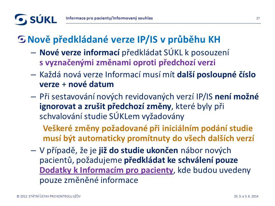 Nově předkládané verze IP/IS v průběhu KH – Nové verze informací předkládat SÚKL k posouzení s vyznačenými změnami oproti předchozí verzi – Každá nová verze Informací musí mít další posloupné číslo verze + nové datum – Při sestavování nových revidovaných verzí IP/IS není možné ignorovat a zrušit předchozí změny, které byly při schvalování studie SÚKLem vyžadovány Veškeré změny požadované při iniciálním podání studie musí být automaticky promítnuty do všech dalších verzí – V případě, že je již do studie ukončen nábor nových pacientů, požadujeme předkládat ke schválení pouze Dodatky k Informacím pro pacienty, kde budou uvedeny pouze změněné informace 20.