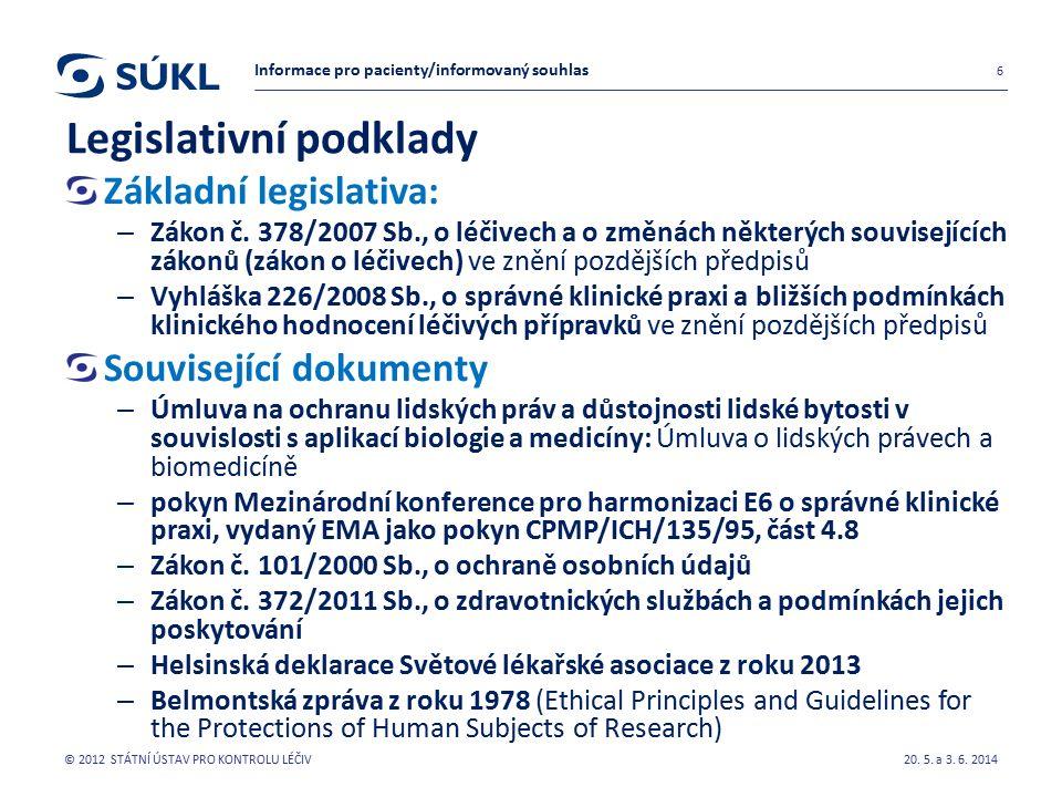 Legislativní podklady Základní legislativa: – Zákon č.