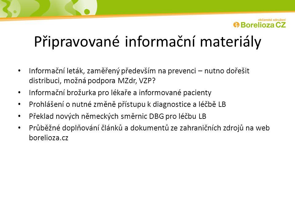 Připravované informační materiály Informační leták, zaměřený především na prevenci – nutno dořešit distribuci, možná podpora MZdr, VZP.