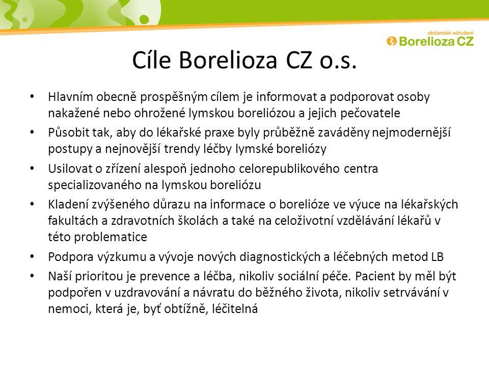 Cíle Borelioza CZ o.s. Hlavním obecně prospěšným cílem je informovat a podporovat osoby nakažené nebo ohrožené lymskou boreliózou a jejich pečovatele