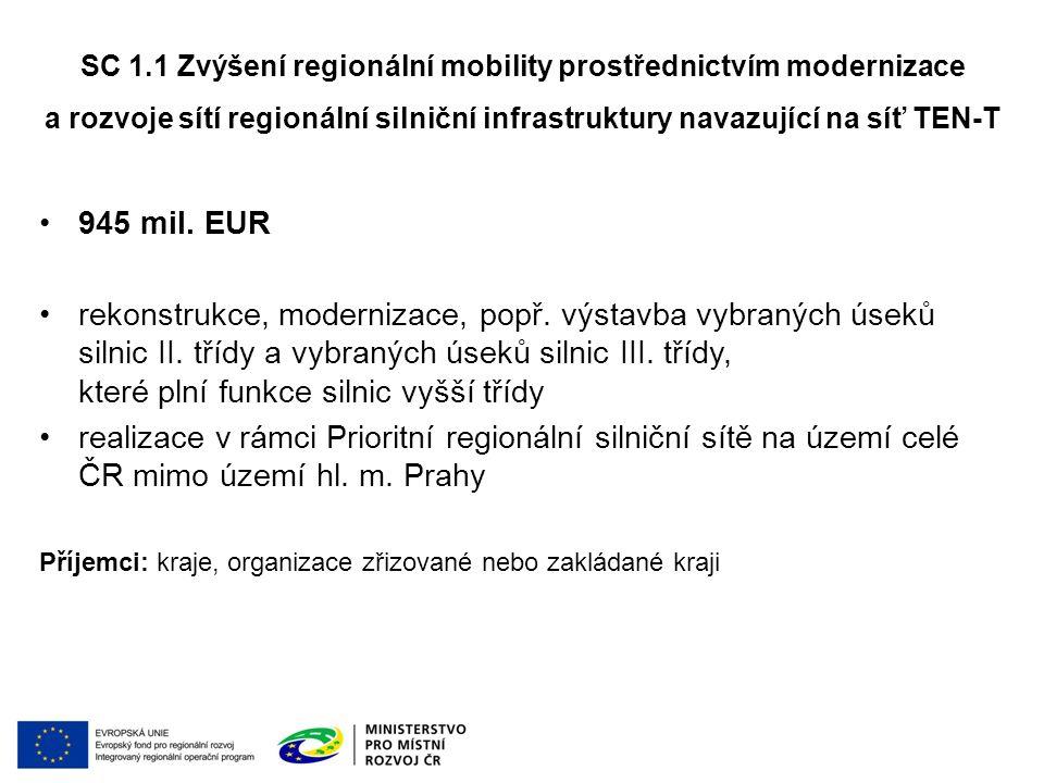 945 mil.EUR rekonstrukce, modernizace, popř. výstavba vybraných úseků silnic II.