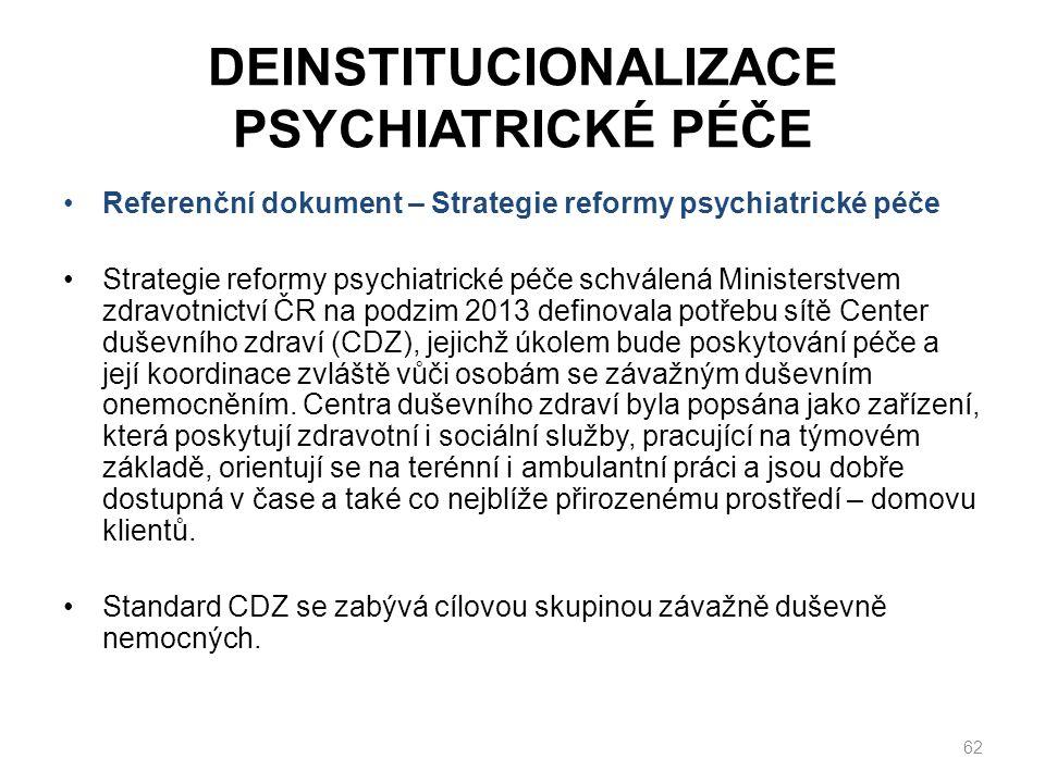 DEINSTITUCIONALIZACE PSYCHIATRICKÉ PÉČE Referenční dokument – Strategie reformy psychiatrické péče Strategie reformy psychiatrické péče schválená Ministerstvem zdravotnictví ČR na podzim 2013 definovala potřebu sítě Center duševního zdraví (CDZ), jejichž úkolem bude poskytování péče a její koordinace zvláště vůči osobám se závažným duševním onemocněním.