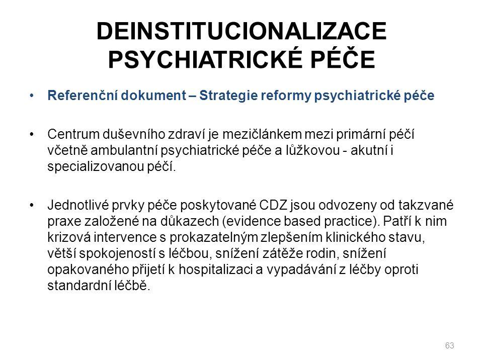 DEINSTITUCIONALIZACE PSYCHIATRICKÉ PÉČE Referenční dokument – Strategie reformy psychiatrické péče Centrum duševního zdraví je mezičlánkem mezi primární péčí včetně ambulantní psychiatrické péče a lůžkovou - akutní i specializovanou péčí.
