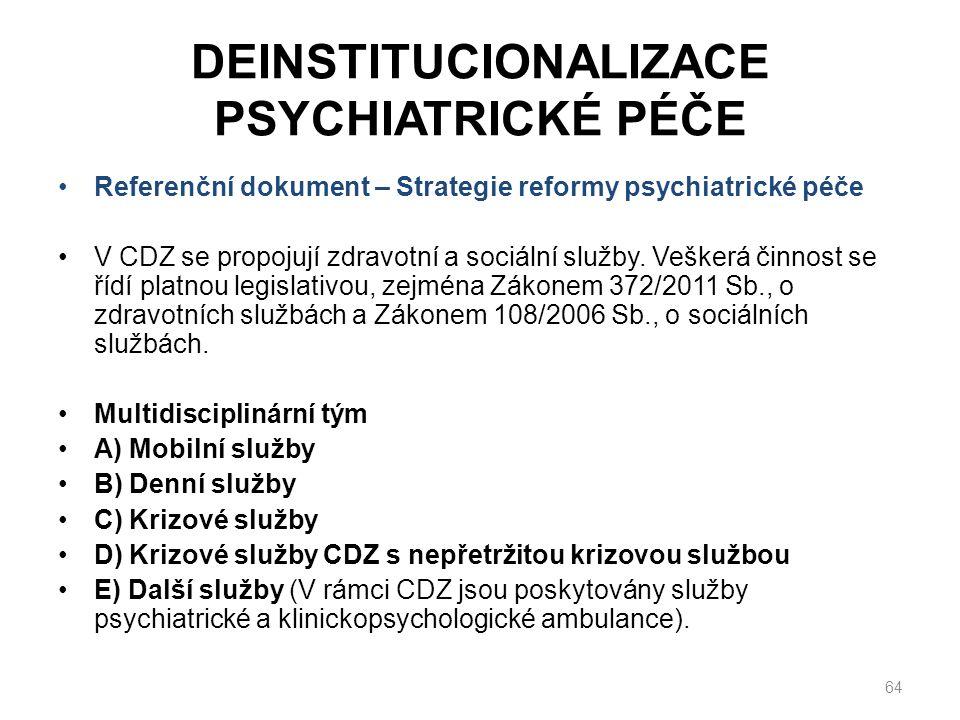 DEINSTITUCIONALIZACE PSYCHIATRICKÉ PÉČE Referenční dokument – Strategie reformy psychiatrické péče V CDZ se propojují zdravotní a sociální služby.