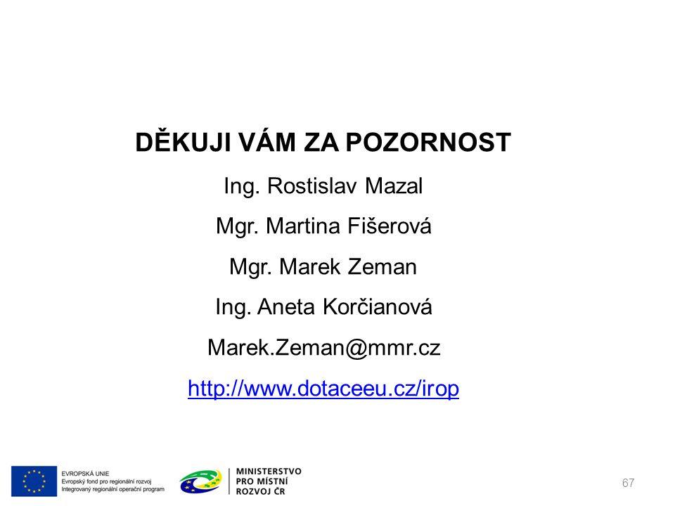 DĚKUJI VÁM ZA POZORNOST Ing. Rostislav Mazal Mgr.