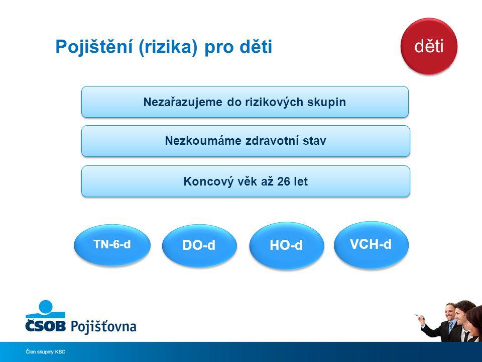 Pojištění (rizika) pro děti TN-6-d DO-d HO-d VCH-d Nezařazujeme do rizikových skupin Nezkoumáme zdravotní stav Koncový věk až 26 let děti