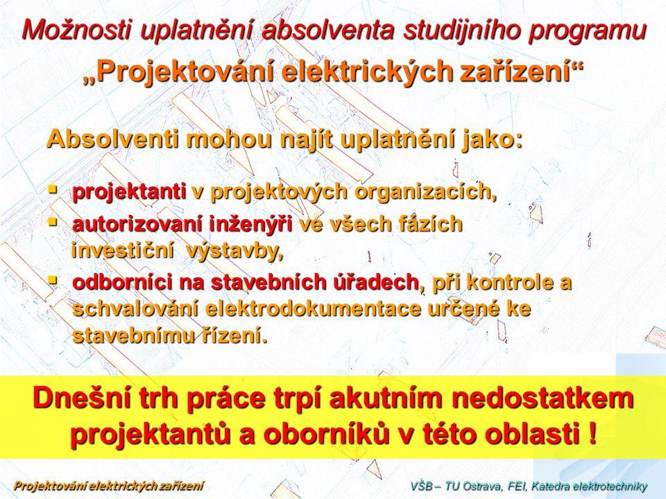 """Možnosti uplatnění absolventa studijního programu """" Projektování elektrických zařízení """" Absolventi mohou najít uplatnění jako:  projektanti v projek"""