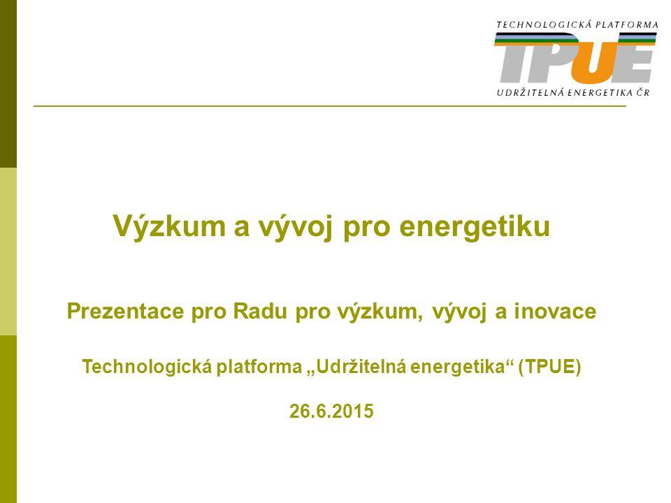 """Výzkum a vývoj pro energetiku Prezentace pro Radu pro výzkum, vývoj a inovace Technologická platforma """"Udržitelná energetika (TPUE) 26.6.2015"""