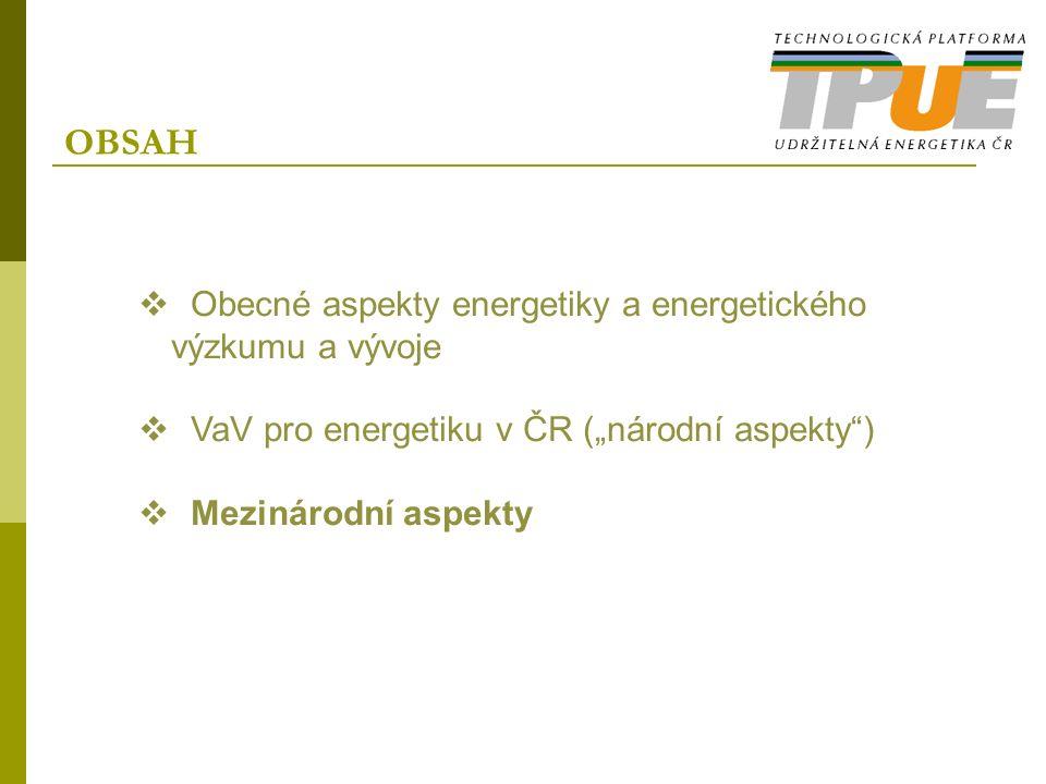 """OBSAH  Obecné aspekty energetiky a energetického výzkumu a vývoje  VaV pro energetiku v ČR (""""národní aspekty"""")  Mezinárodní aspekty"""