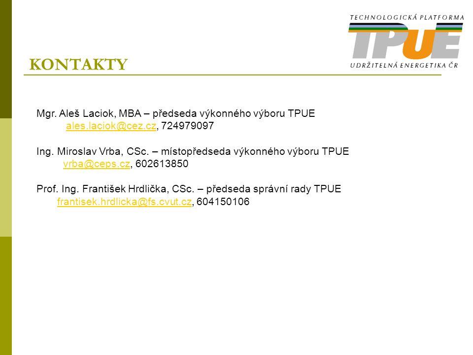 KONTAKTY Mgr. Aleš Laciok, MBA – předseda výkonného výboru TPUE ales.laciok@cez.cz, 724979097ales.laciok@cez.cz Ing. Miroslav Vrba, CSc. – místopředse