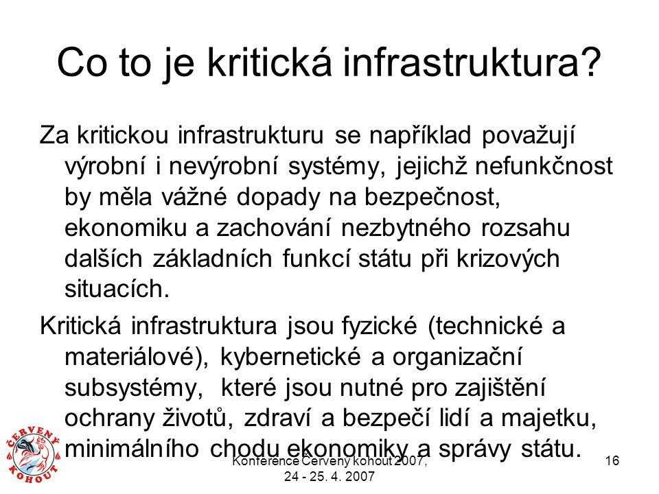 Konference Červený kohout 2007, 24 - 25. 4. 2007 16 Co to je kritická infrastruktura? Za kritickou infrastrukturu se například považují výrobní i nevý