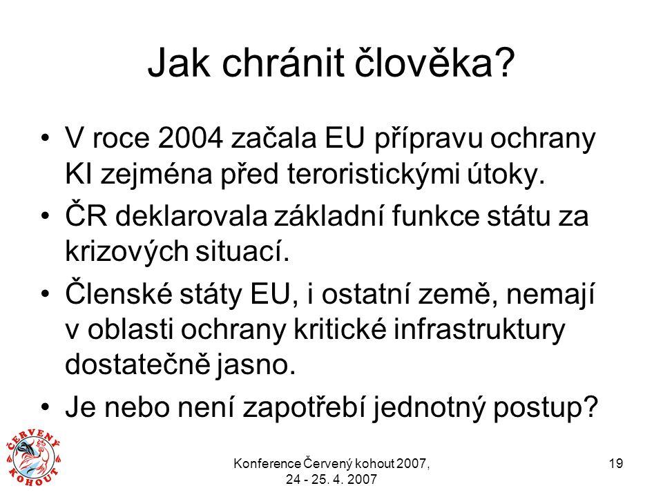 Konference Červený kohout 2007, 24 - 25. 4. 2007 19 Jak chránit člověka? V roce 2004 začala EU přípravu ochrany KI zejména před teroristickými útoky.