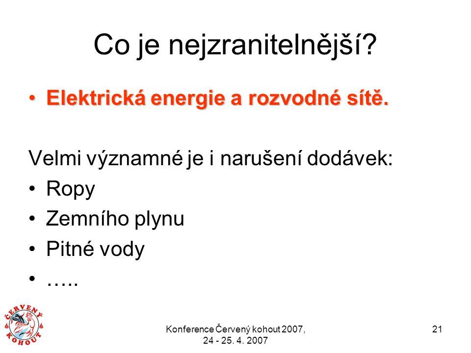 Konference Červený kohout 2007, 24 - 25. 4. 2007 21 Co je nejzranitelnější? Elektrická energie a rozvodné sítě.Elektrická energie a rozvodné sítě. Vel