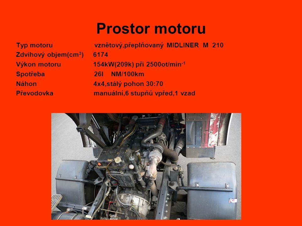 Prostor motoru Typ motoru vznětový,přeplňovaný MIDLINER M 210 Zdvihový objem(cm 3 ) 6174 Výkon motoru 154kW(209k) při 2500ot/min -1 Spotřeba 26l NM/100km Náhon 4x4,stálý pohon 30:70 Převodovka manuální,6 stupňů vpřed,1 vzad