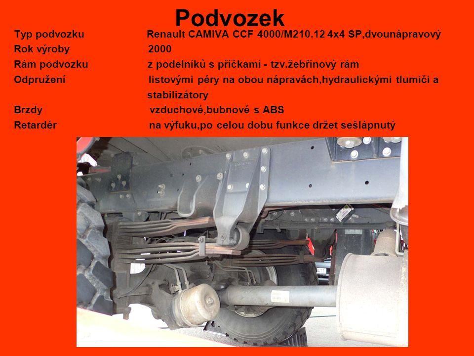 Podvozek Typ podvozku Renault CAMIVA CCF 4000/M210.12 4x4 SP,dvounápravový Rok výroby 2000 Rám podvozku z podelníků s příčkami - tzv.žebřinový rám Odpružení listovými péry na obou nápravách,hydraulickými tlumiči a stabilizátory Brzdy vzduchové,bubnové s ABS Retardér na výfuku,po celou dobu funkce držet sešlápnutý