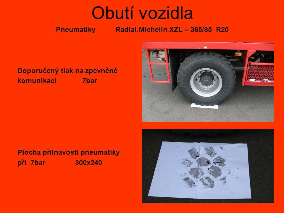 Obutí vozidla Pneumatiky Radial,Michelin XZL – 365/85 R20 Doporučený tlak na zpevněné komunikaci 7bar Plocha přilnavosti pneumatiky při 7bar 300x240