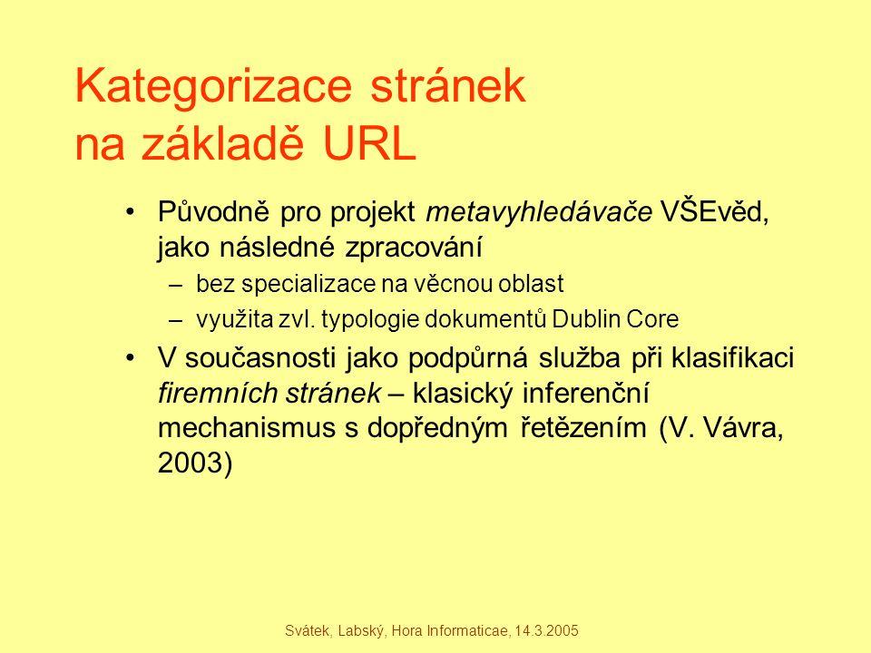 Kategorizace stránek na základě URL Původně pro projekt metavyhledávače VŠEvěd, jako následné zpracování –bez specializace na věcnou oblast –využita z