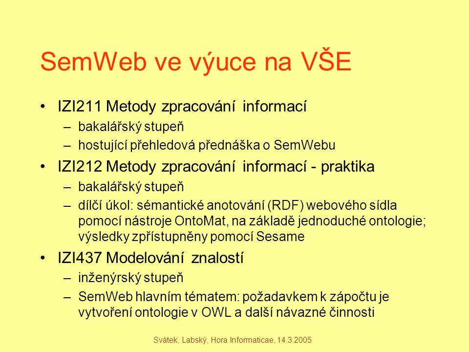 Svátek, Labský, Hora Informaticae, 14.3.2005 SemWeb ve výuce na VŠE IZI211 Metody zpracování informací –bakalářský stupeň –hostující přehledová předná