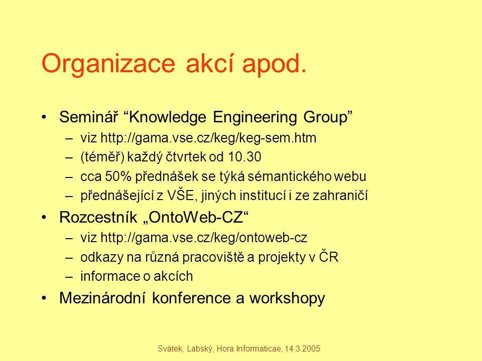 """Svátek, Labský, Hora Informaticae, 14.3.2005 Organizace akcí apod. Seminář """"Knowledge Engineering Group"""" –viz http://gama.vse.cz/keg/keg-sem.htm –(tém"""