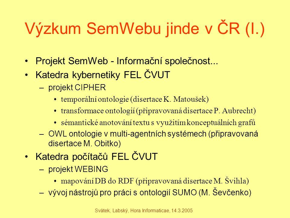 Svátek, Labský, Hora Informaticae, 14.3.2005 Výzkum SemWebu jinde v ČR (I.) Projekt SemWeb - Informační společnost... Katedra kybernetiky FEL ČVUT –pr