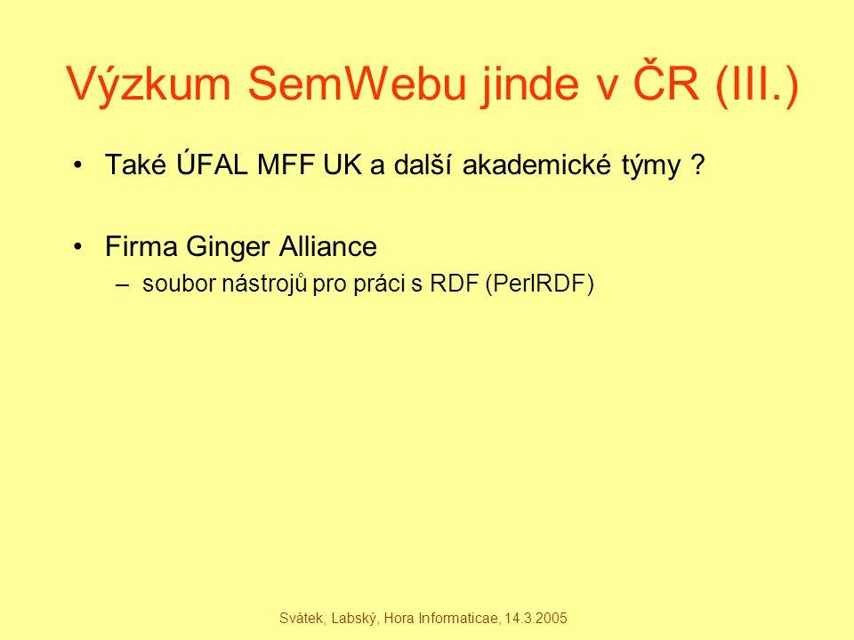 Svátek, Labský, Hora Informaticae, 14.3.2005 Výzkum SemWebu jinde v ČR (III.) Také ÚFAL MFF UK a další akademické týmy ? Firma Ginger Alliance –soubor