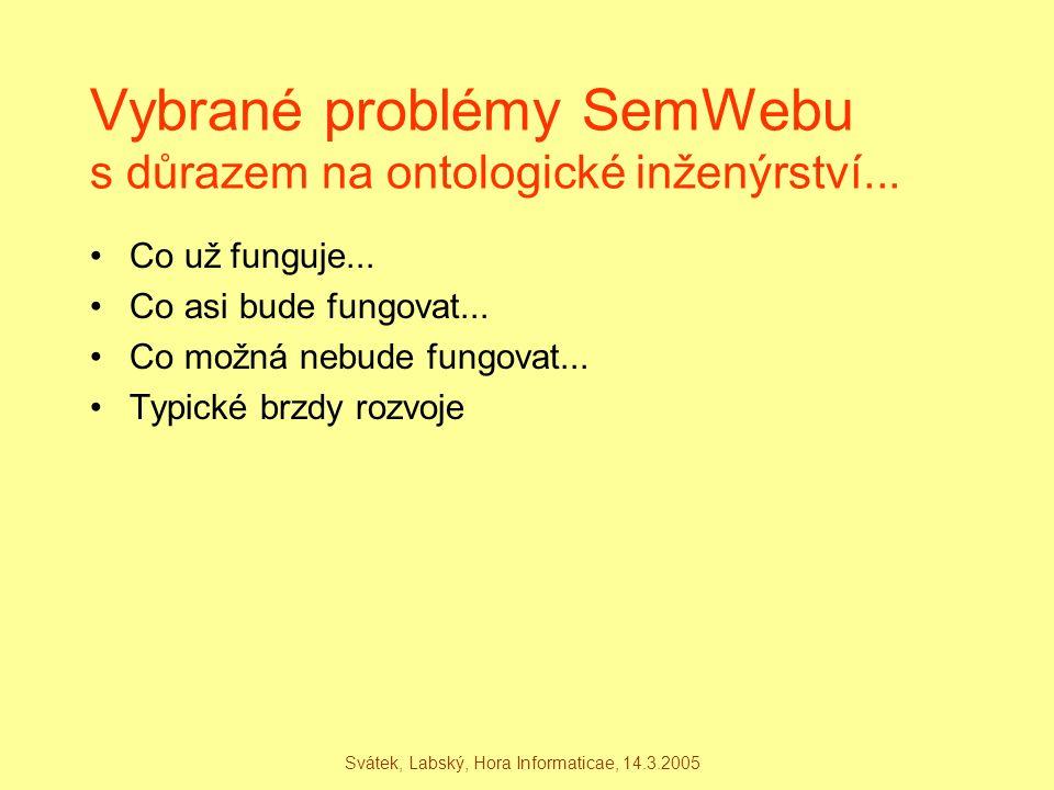 Svátek, Labský, Hora Informaticae, 14.3.2005 Vybrané problémy SemWebu s důrazem na ontologické inženýrství... Co už funguje... Co asi bude fungovat...