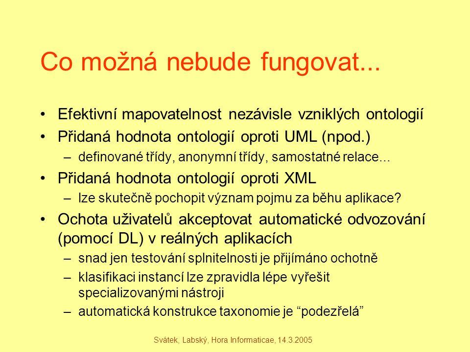 Svátek, Labský, Hora Informaticae, 14.3.2005 Co možná nebude fungovat... Efektivní mapovatelnost nezávisle vzniklých ontologií Přidaná hodnota ontolog