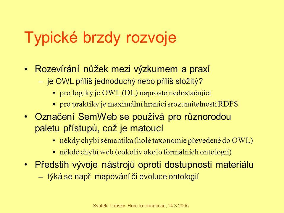 Svátek, Labský, Hora Informaticae, 14.3.2005 Typické brzdy rozvoje Rozevírání nůžek mezi výzkumem a praxí –je OWL příliš jednoduchý nebo příliš složit