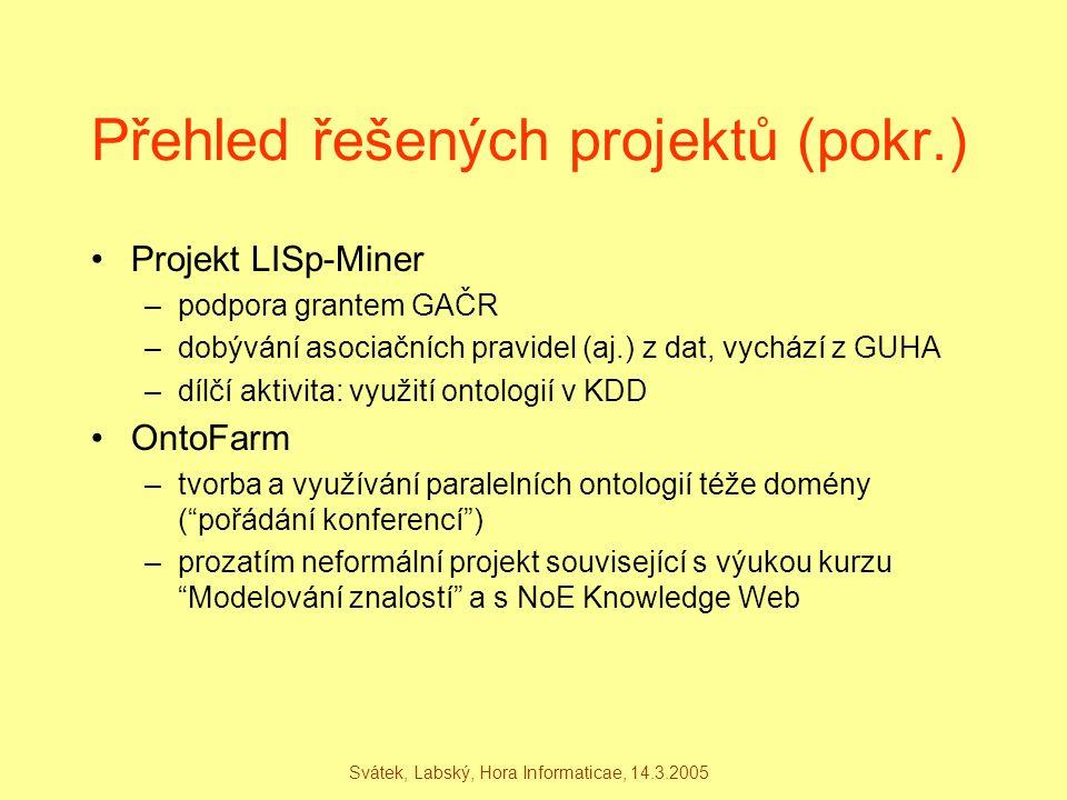 Svátek, Labský, Hora Informaticae, 14.3.2005 Přehled řešených projektů (pokr.) Projekt LISp-Miner –podpora grantem GAČR –dobývání asociačních pravidel