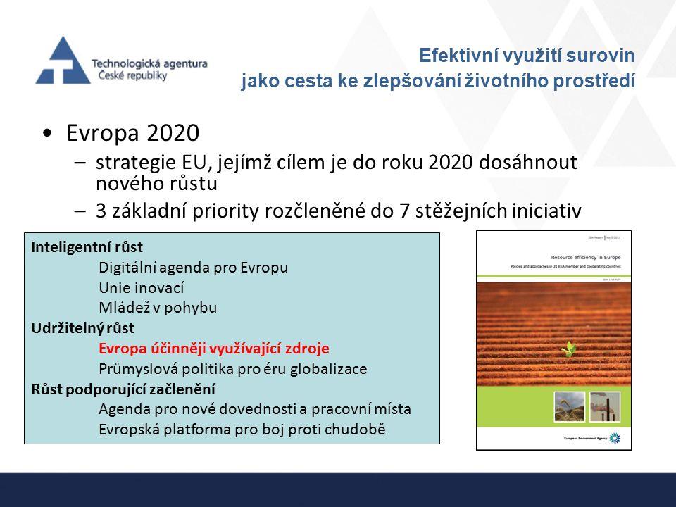 Efektivní využití surovin jako cesta ke zlepšování životního prostředí Evropa 2020 –strategie EU, jejímž cílem je do roku 2020 dosáhnout nového růstu