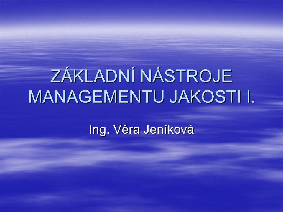 ZÁKLADNÍ NÁSTROJE MANAGEMENTU JAKOSTI I. Ing. Věra Jeníková