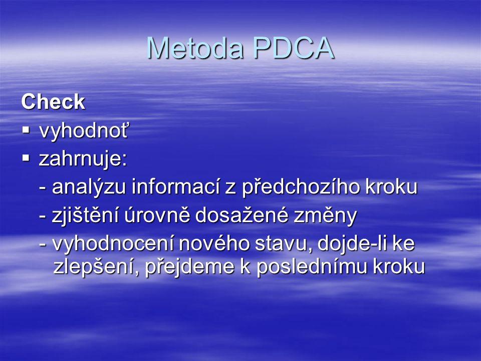 Metoda PDCA Check  vyhodnoť  zahrnuje: - analýzu informací z předchozího kroku - zjištění úrovně dosažené změny - vyhodnocení nového stavu, dojde-li ke zlepšení, přejdeme k poslednímu kroku