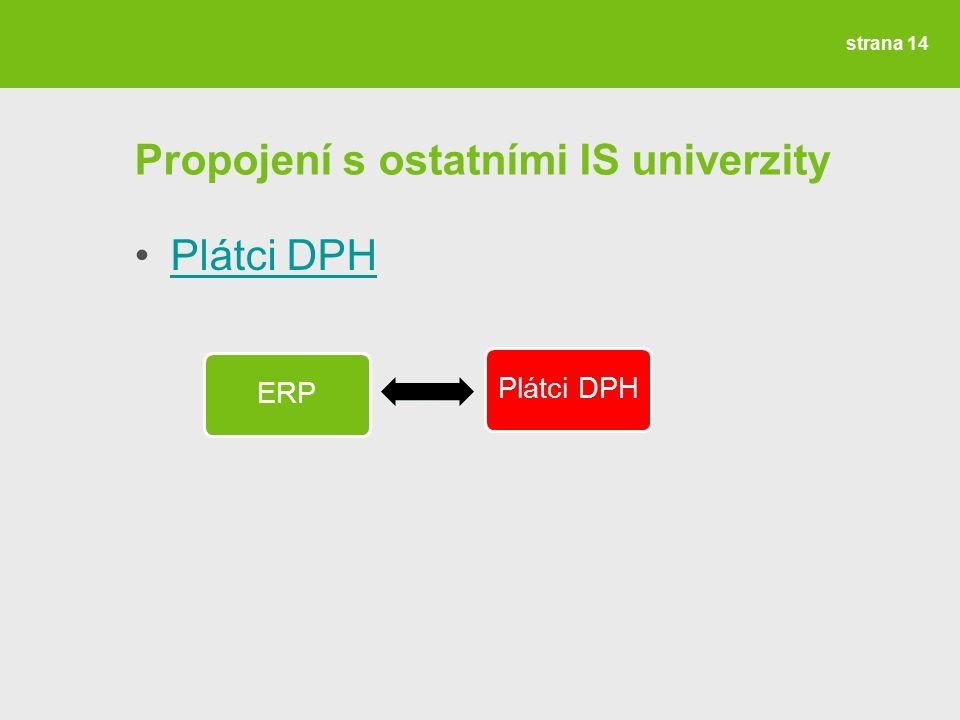 strana 14 Propojení s ostatními IS univerzity Plátci DPH ERPPlátci DPH